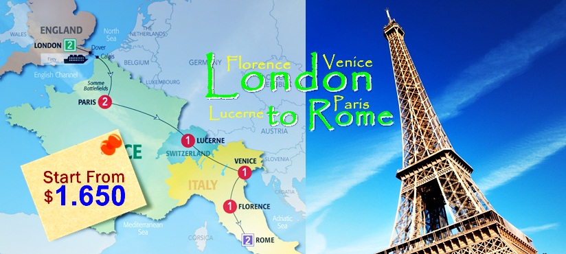 8D Europe London to Rome