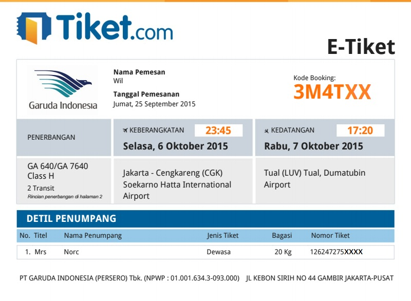 E Ticket Pesawat