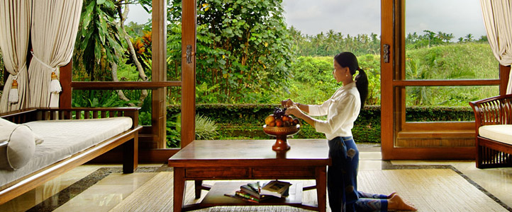 Bali Pitamaha Resort Honeymoon Package - Living Room Garden Villa